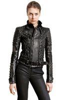 Diesel Black Gold Studded Nappa Leather Biker Jacket - Lyst