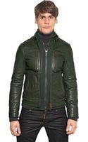 DSquared2 Soft Nappa Leather Knit Biker Jacket - Lyst