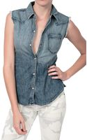 Textile Elizabeth And James Austin Sleeveless Denim Vest - Lyst