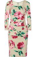 Dolce & Gabbana Floral Print Stretchsilk Dress - Lyst