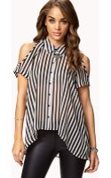 Forever 21 Cutout Shoulder Striped Shirt - Lyst