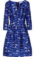 Oscar de la Renta Day Printed Silk and Cottonblend Dress - Lyst