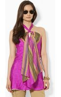 Lauren by Ralph Lauren Striped Silk Halter Tunic - Lyst