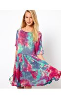 Asos Smock Dress in Tie Dye with Tiers - Lyst