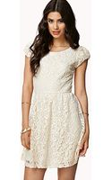 Forever 21 Lace Crochet Fit Flare Dress - Lyst