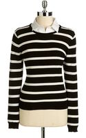 Vince Camuto Detachable Collar Striped Sweater - Lyst