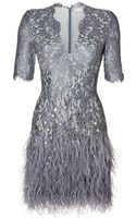 Matthew Williamson Embellished Lace Dress in Pewter - Lyst