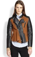 3.1 Phillip Lim Leather Crepe Paneled Motorcycle Jacket - Lyst