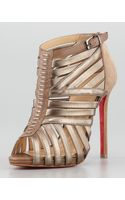 Christian Louboutin Karina Caged Redsole Ankle Bootie Greige - Lyst