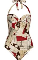 Oscar de la Renta Printed Halterneck Swimsuit - Lyst