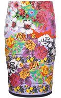 Versace Floral Pencil Skirt - Lyst
