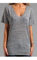 Enza Costa Cotton Slub Jersey Loose Short Sleeve V in Gray - Lyst