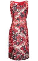 Oscar de la Renta Sleeveless Print Dress - Lyst