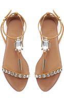 Zara Jewel Embellished Leather Sandal - Lyst