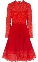 Valentino Lace and Plissé Silkcrepe Dress - Lyst