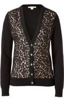 Michael Kors Cashmere Lace Cardigan in Black Nude - Lyst