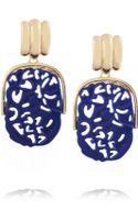Kenneth Jay Lane Goldplated Lapis Clip Earrings - Lyst