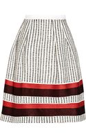 Oscar de la Renta Embroidered Cotton and Silkblend Shantung Skirt - Lyst
