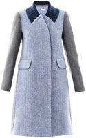Carven Contrast Sleeve Wool Coat - Lyst