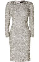Jenny Packham Silk Sequined Dress in Platinum - Lyst