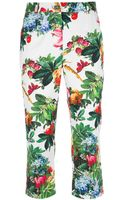 Dolce & Gabbana Floral Print Cropped Trouser - Lyst