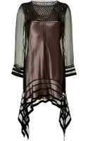 Alberta Ferretti Silk Sheer Sleeve Dress - Lyst