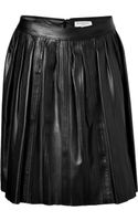 Burberry London Leather Stitched Skirt in Black - Lyst