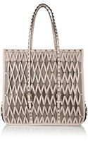 Valentino Rockstud Leather and Mesh Tote - Lyst