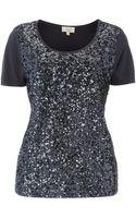Linea Weekend Ladies Embellished Sequin Front Jersey Tshirt - Lyst