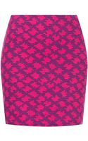 Topshop Pink Jacquard Mini Skirt - Lyst