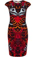 McQ by Alexander McQueen Red Kaleidoscope Beetle Print Bodycon Dress - Lyst