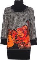 Roberto Cavalli Printed Turtleneck Sweater - Lyst
