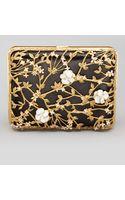 Alexander McQueen Metallic Floral Rectangle Box Clutch - Lyst