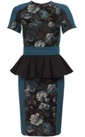 Antonio Marras Teal Jacquard Pencil Dress - Lyst