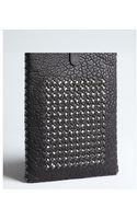 Bottega Veneta Black Pebbled Leather and Intrecciato Acrylic Ipad Case - Lyst