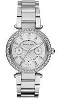 Michael Kors Ladies Mini Parker Stainless Steel Watch - Lyst