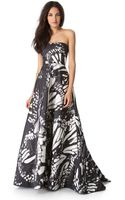 Monique Lhuillier Butterfly Strapless Gown - Lyst