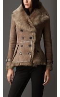 Burberry Leather Trim Shearling Jacket - Lyst