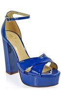 Kate Spade Isis Platform Sandal in Cobalt Patent Leather - Lyst