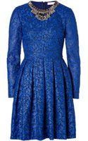 Matthew Williamson Brocade Embellished Collar Dress in Cobalt - Lyst