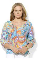 Lauren by Ralph Lauren Three Quarter Sleeve Paisley Print Silk - Lyst