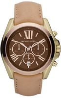 Michael Kors Womens Chronograph Bradshaw Chocolate Vachetta Leather Strap 43mm - Lyst