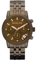 Michael Kors Womens Chronograph Ritz Espresso Stainless Steel Bracelet 37mm - Lyst