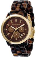 Michael Kors Womens Chronograph Showstopper Stainless Steel and Tortoise Acrylic Bracelet 44mm - Lyst