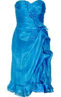 Oscar de la Renta Ruffled Silk Dress - Lyst