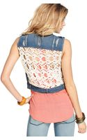 Free People Sleeveless Distressed Denim Crochetlace - Lyst
