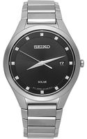 Seiko Mens Solar Diamond Accent Stainless Steel Bracelet 39mm Sne249 - Lyst