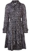 Paule Ka Leopard Print Trench Coat - Lyst