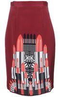 Holly Fulton Punky Crepe De Chine Printed Skirt Redblack - Lyst