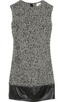 Milly Cecelia Leather-trimmed Wool-blend Tweed Dress - Lyst